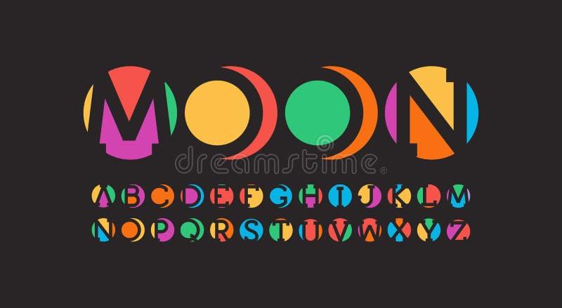 Alphabet der abstrakten Kunst Negative RaumBriefgestaltung Stücke Kreise Bunter Schrifttyp Vektor gesetzt auf Schwarzem vektor abbildung