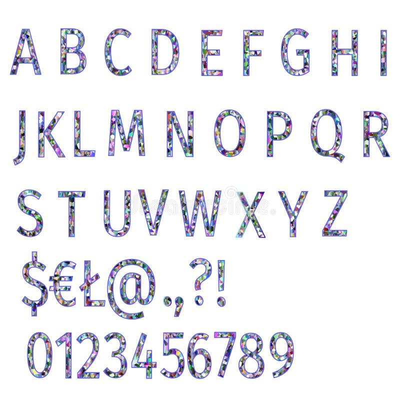 Alphabet des bunten Mosaikgusses der Polygone und Zahlen vector die editable Illustration stock abbildung