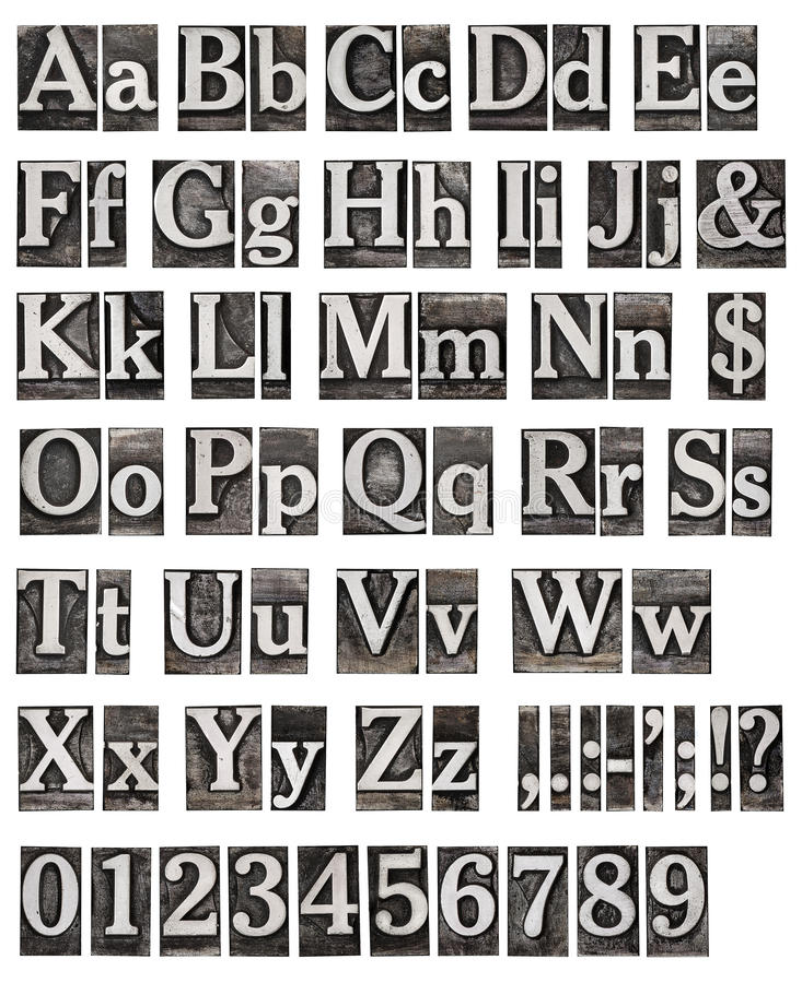 Alphabet des lettres en métal photo libre de droits
