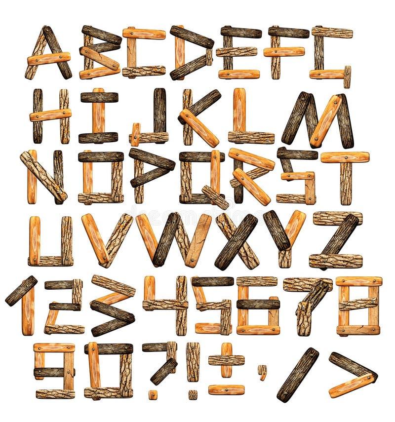 Alphabet des panneaux en bois et de l'écorce illustration libre de droits