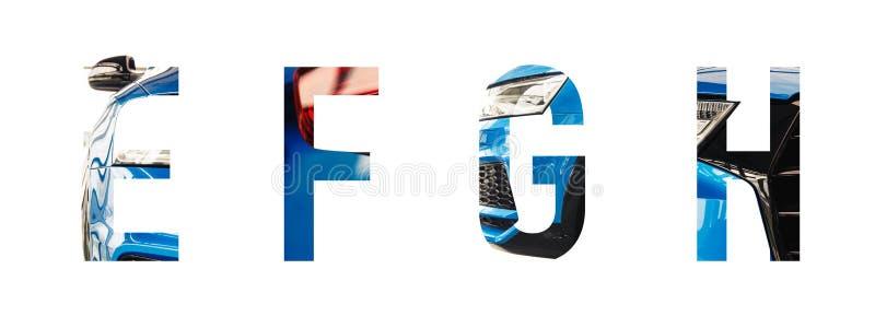 Alphabet des véhicules à moteur e, f, g, h de police image libre de droits