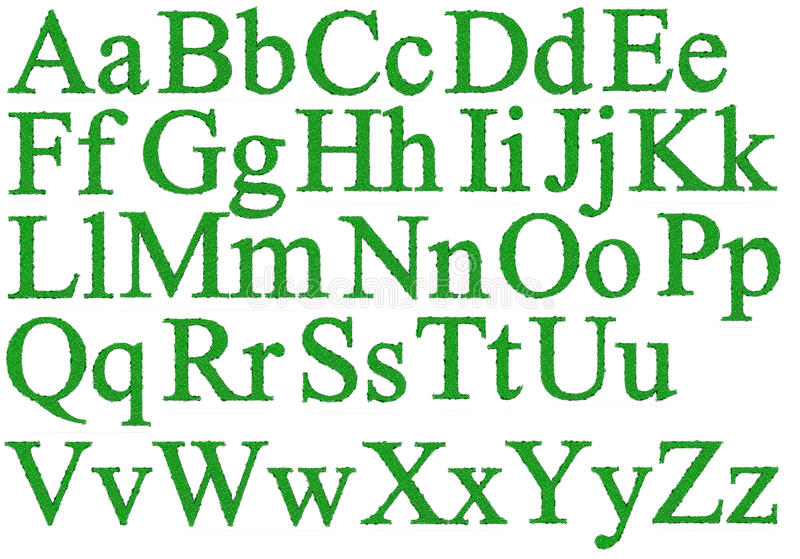 Alphabet with dewdrops. Isolated 3d render of green alphabet with dewdrops vector illustration