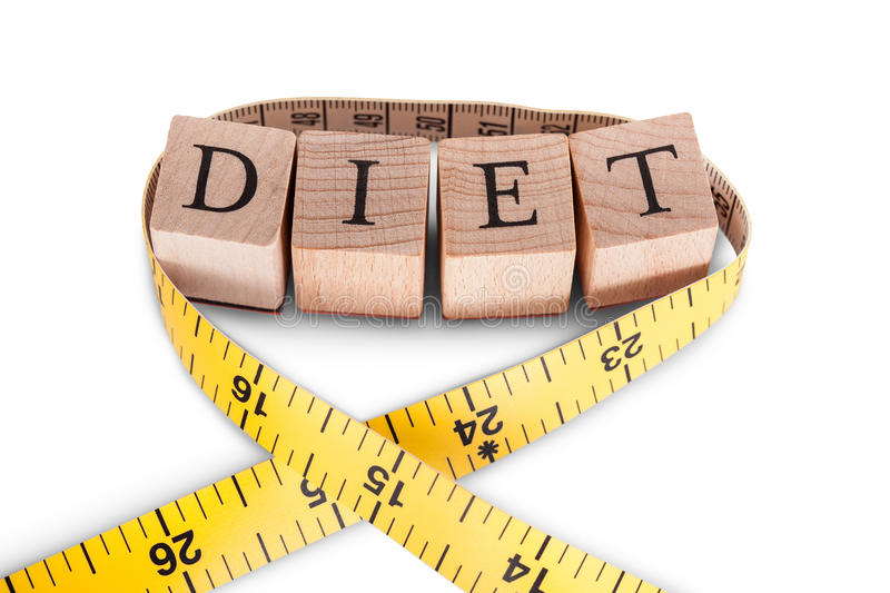 Alphabet Diet and tape measure royalty free stock image