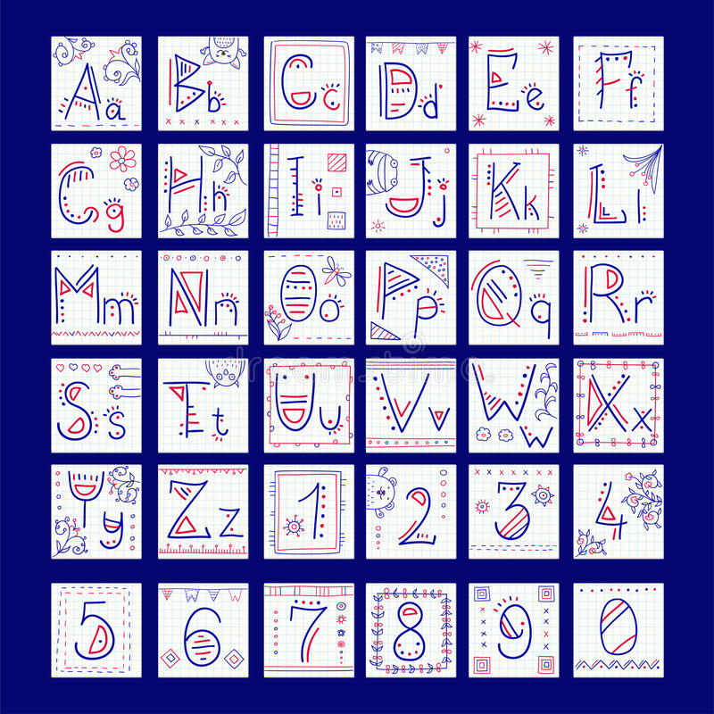 Alphabet in doodle style royalty free illustration