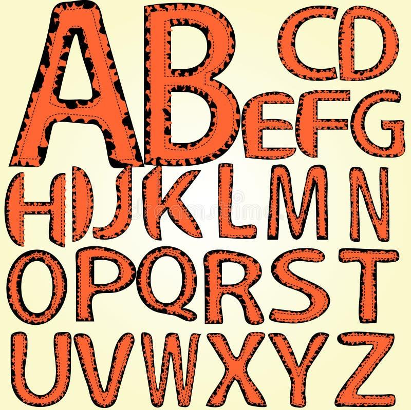 Alphabet, dotted line, torn edges, sewn. On a light background, orange letters, torn edges, dotted line royalty free illustration