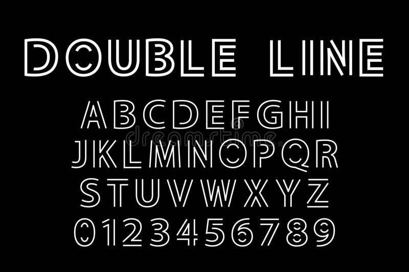 Double line font. Alphabet and double line font. Modern actual vector illustration in line art style vector illustration