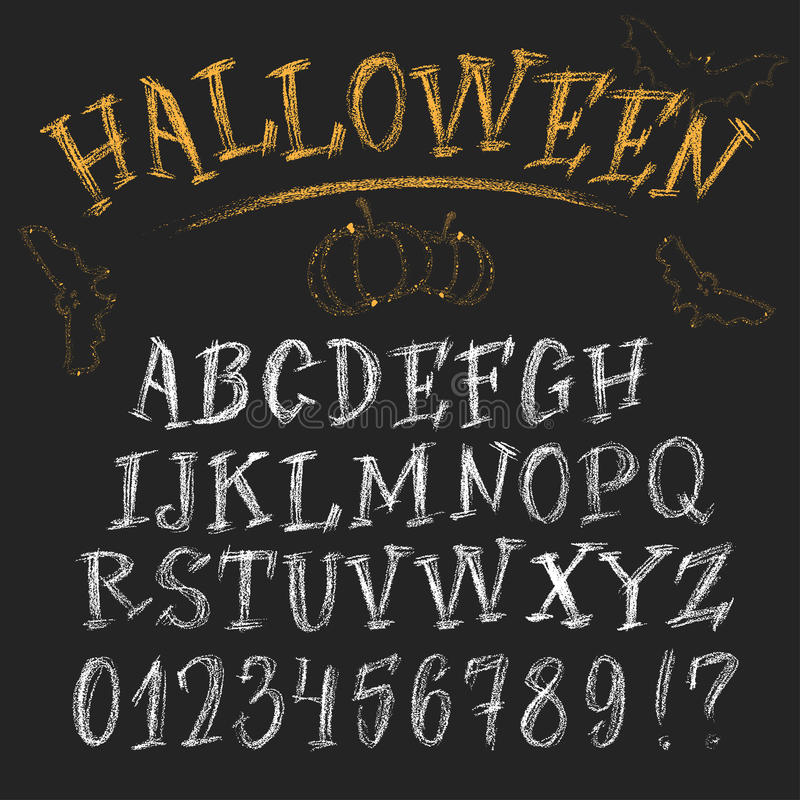 Alphabet drôle de Halloween de craie illustration de vecteur