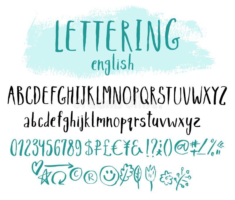 Alphabet drôle pour l'inscription illustration stock