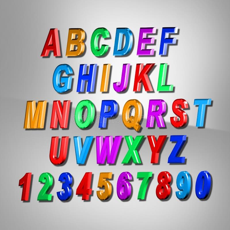 alphabet du colorfull 3d lettres de conception réglées image libre de droits
