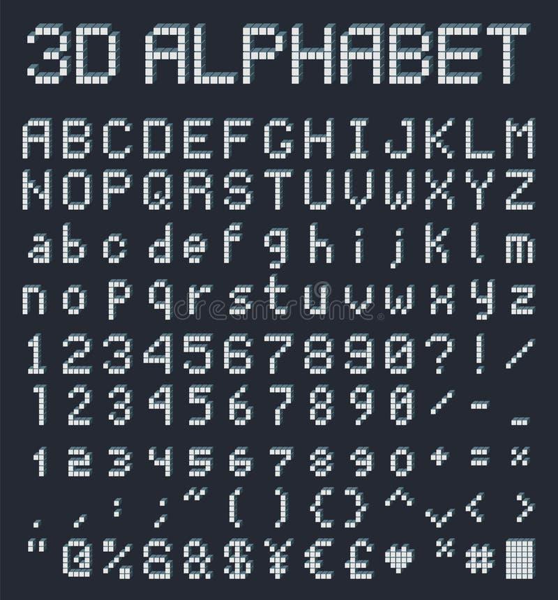 alphabet du pixel 3d, rétro police de style de jeu illustration libre de droits