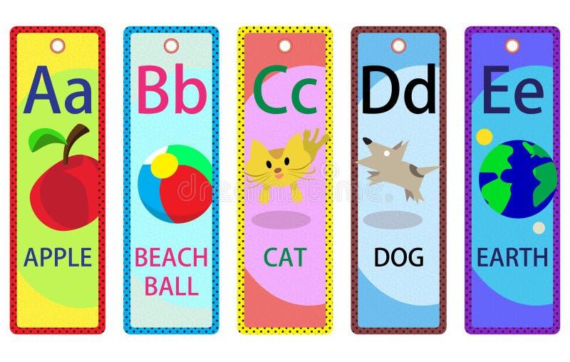 Alphabet Educational Bookmarks A-E for Kids. Alphabet learning bookmarks collection A-E for children vector illustration