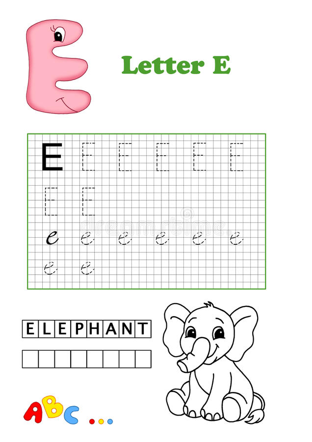 Alphabet, elephant stock images