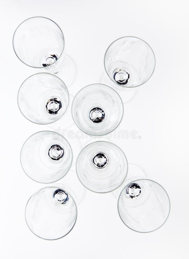 Alphabet Empty champagne glass white background stock image
