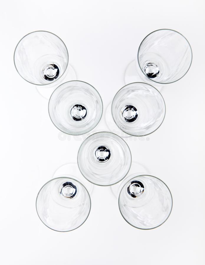 Alphabet Empty champagne glass white background royalty free stock images