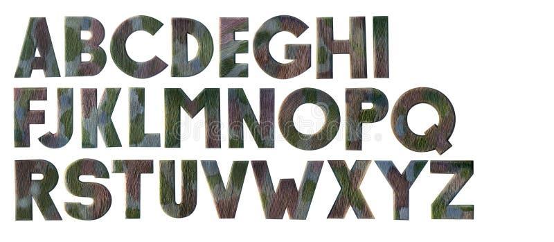 Alphabet en bois de camouflage photos stock