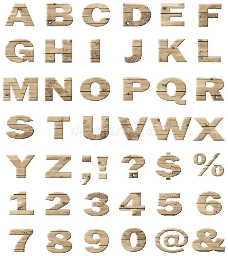 Alphabet en bois de vecteur illustration de vecteur