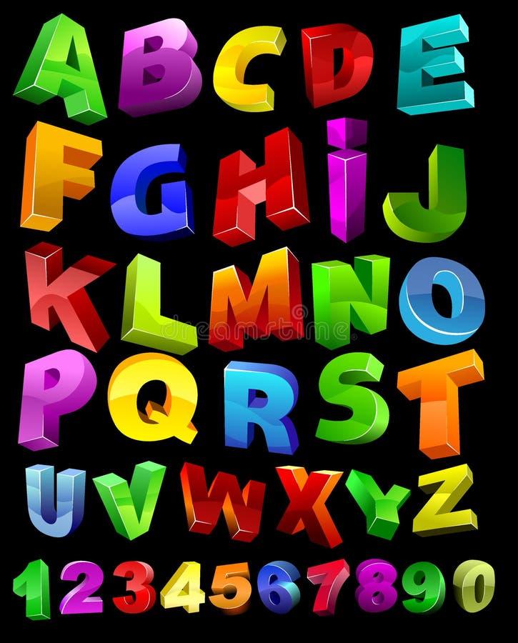 Alphabet en entier avec des chiffres illustration de vecteur