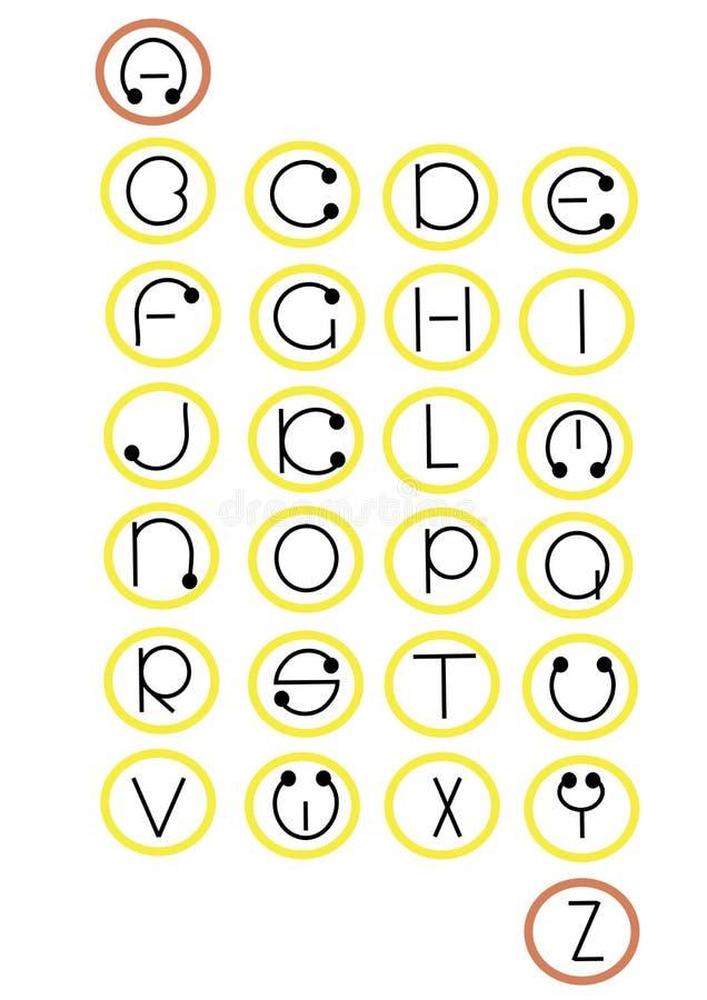 Alphabet en entier dans des roues -. illustration de vecteur
