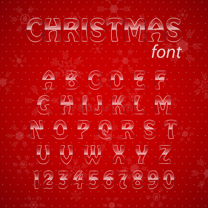 Alphabet en verre de Noël. illustration stock