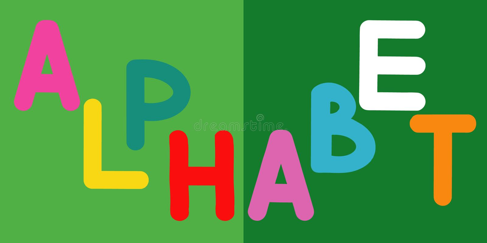 English alphabet for children education, word alphabet in uppercase. Cute kids colorful ABC alphabet in cartoon style, flashcard. For learning English stock illustration