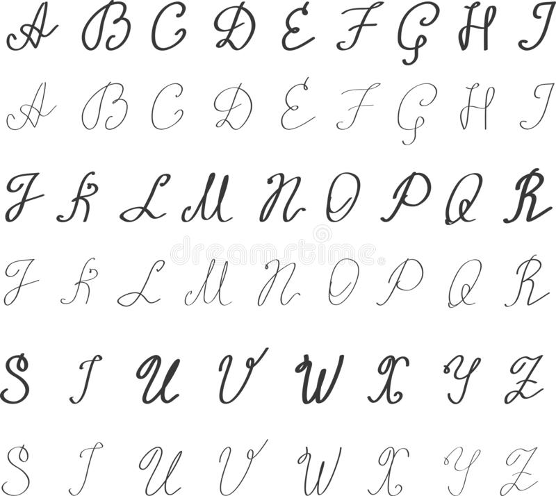 Alphabet in English. Hand drawn typeface. Letters handwritten in modern calligraphy style for logo design, poster, print - Vector vector illustration