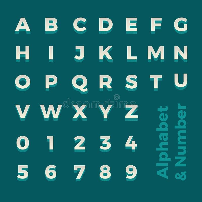 Alphabet et nombre isométriques du vecteur 3d Pour le graphique de disposition de conception illustration stock