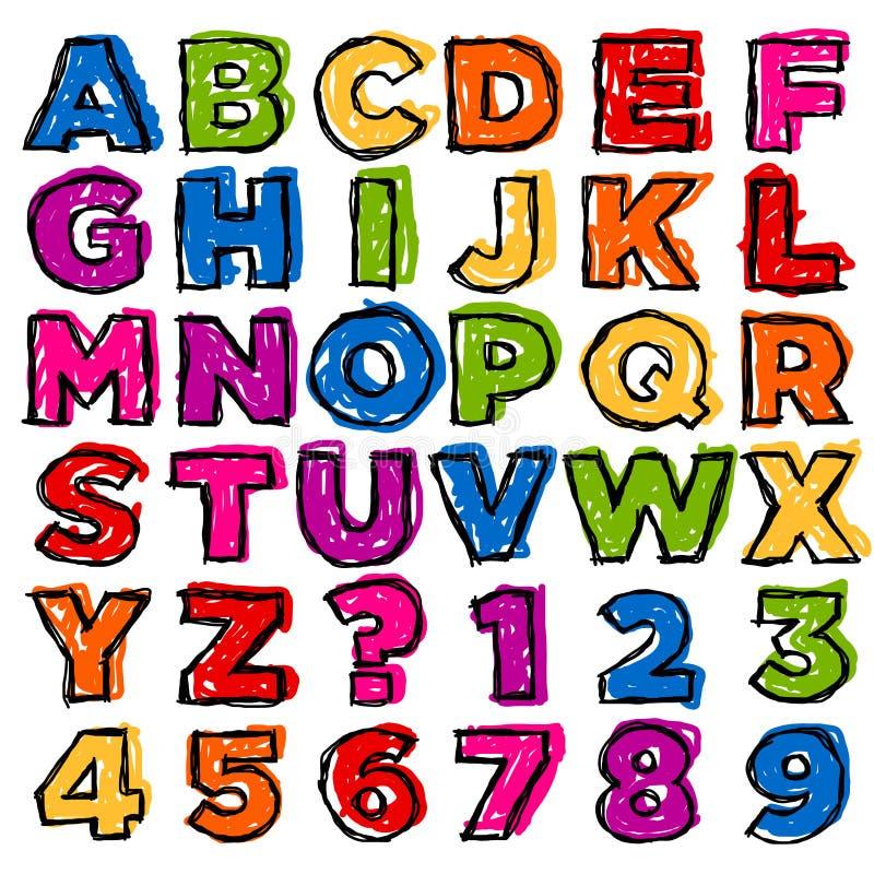 Alphabet et nombres colorés de griffonnage photos stock