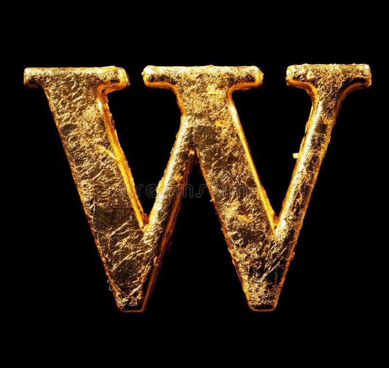 Alphabet et nombres dans la feuille d'or photo stock