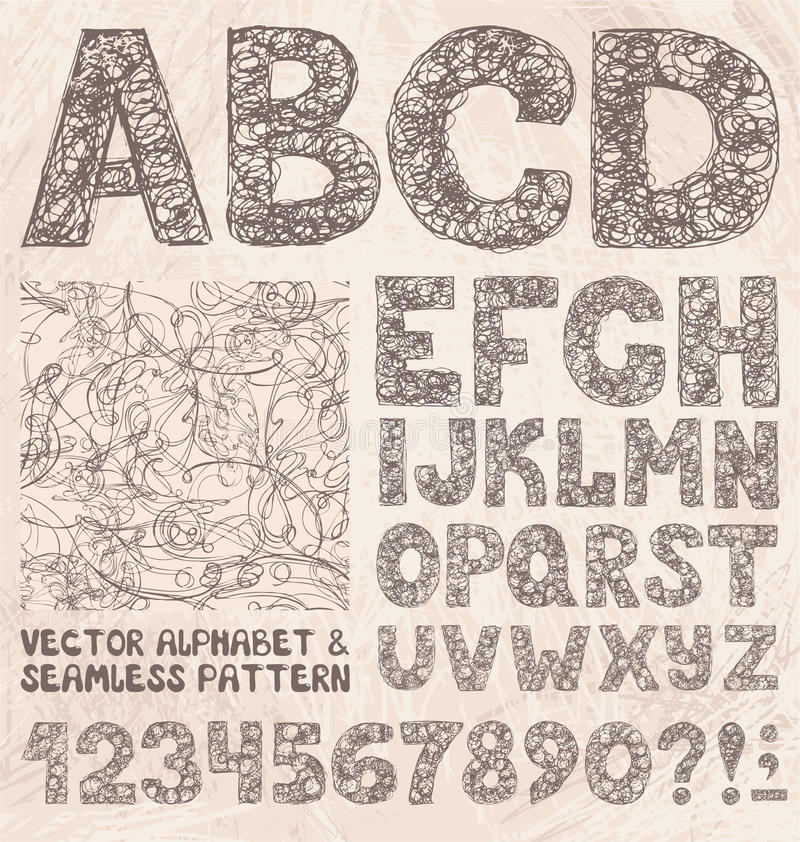 Alphabet et nombres de croquis de crayon Ensemble de vecteur de dessin de main illustration stock