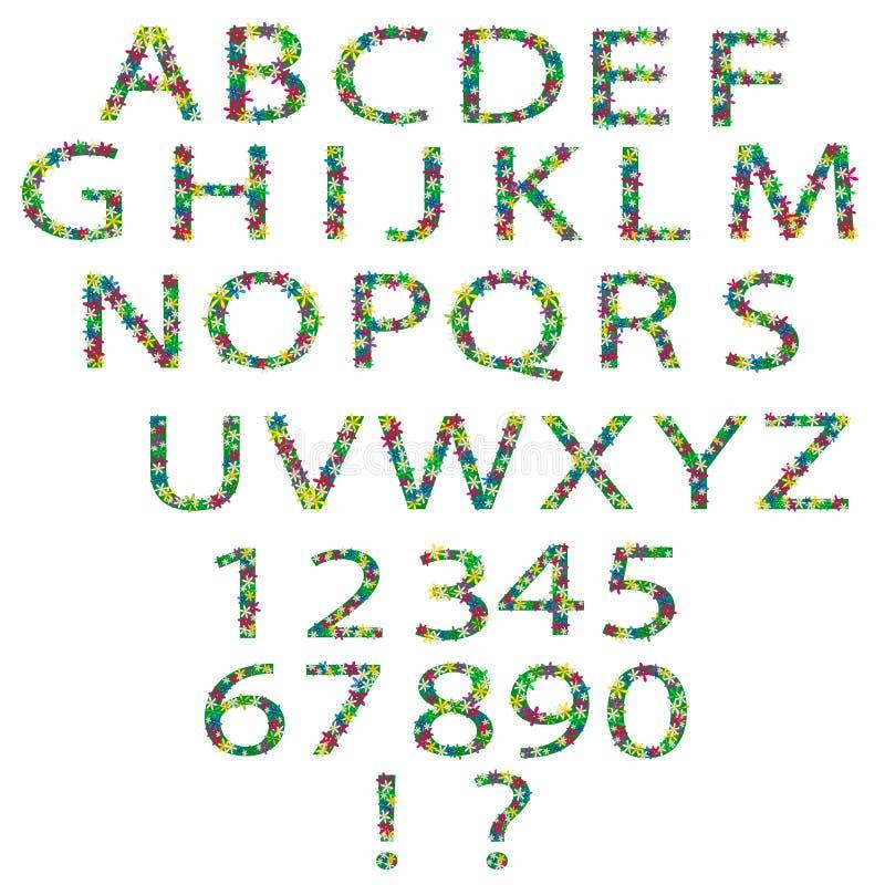 Alphabet et nombres floraux illustration stock