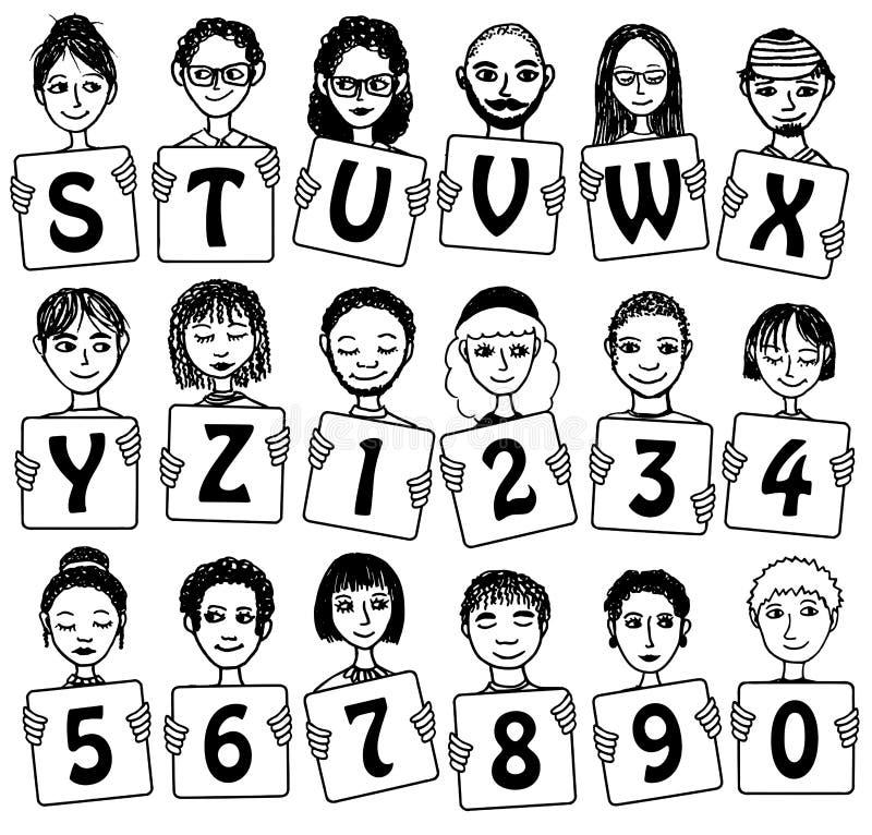 Alphabet et nombres mignons avec les visages tirés par la main illustration stock