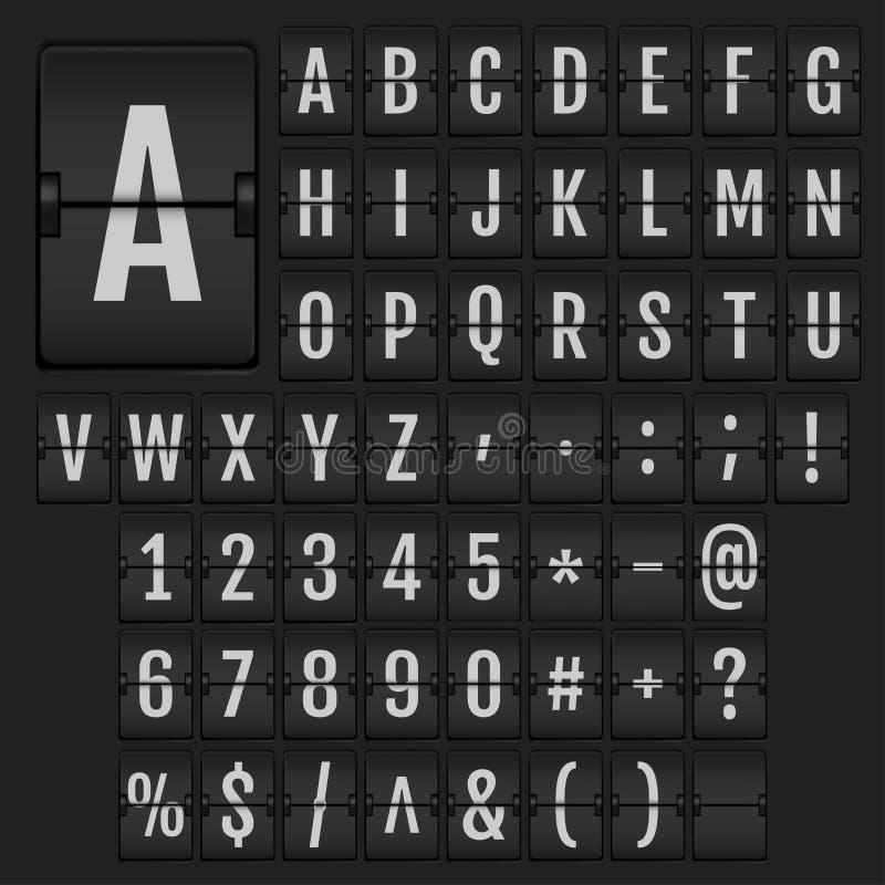 Alphabet et nombres réalistes de secousse illustration stock