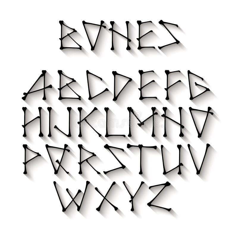 Alphabet fait d'os noirs croisés Vecteur noir illustration de vecteur