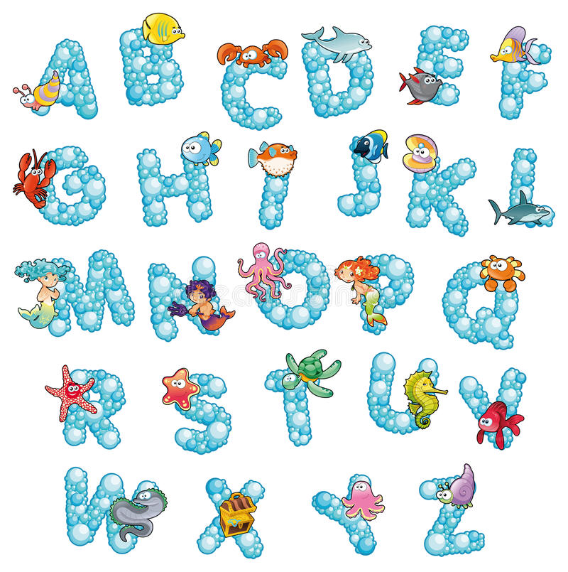 Alphabet with fish and bubbles. Funny cartoon and vector isolated letters