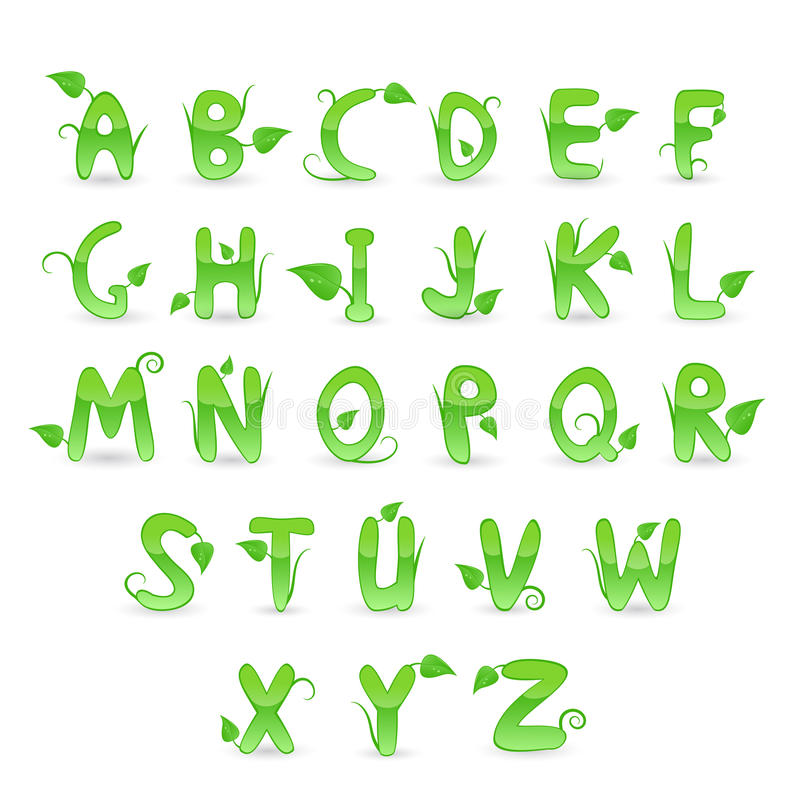 Alphabet floral vert illustration de vecteur
