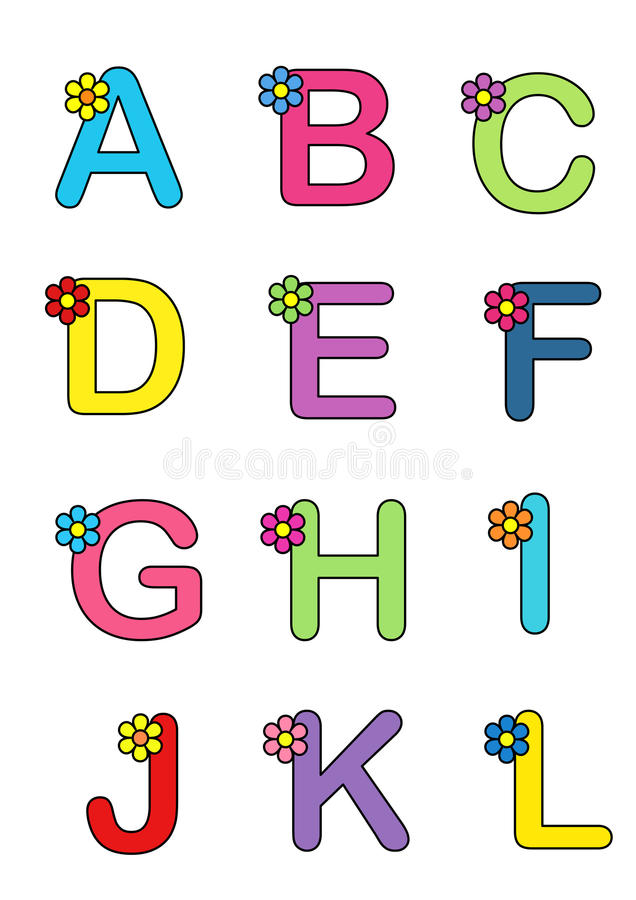 Alphabet with the flower 1 stock image