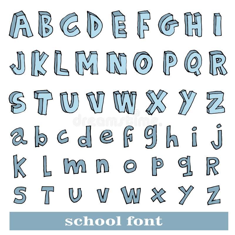 Alphabet font line - Vector illustration.  stock illustration