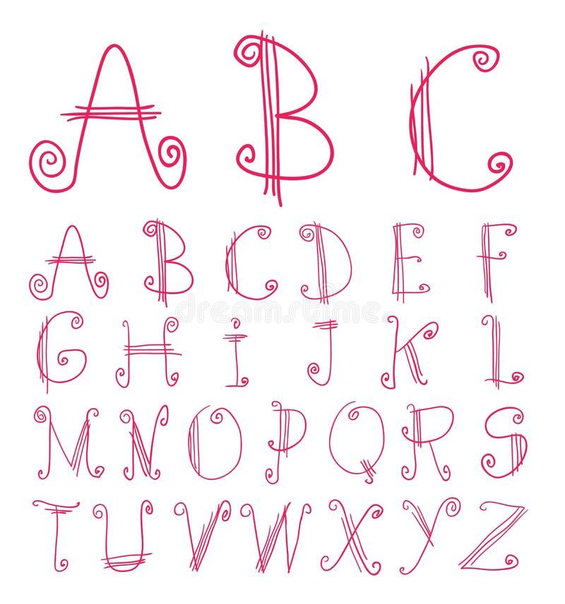 Alphabet font line - Vector illustration.  royalty free illustration