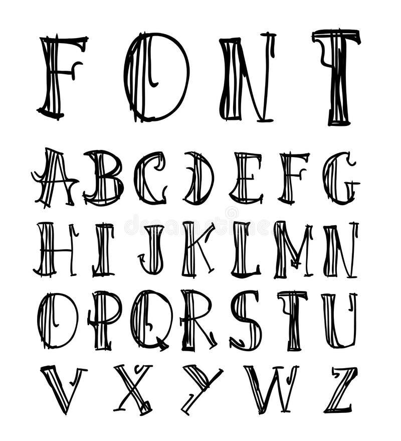 Alphabet font line - Vector illustration. Alphabet font line set- Vector illustration royalty free illustration