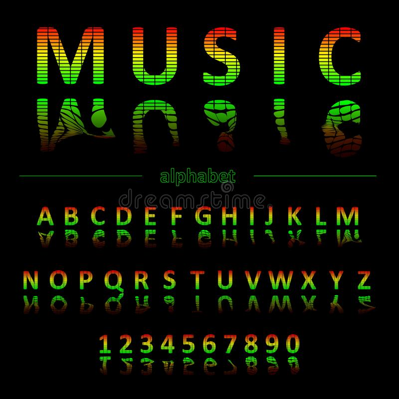 Alphabet in the form of an equalizer. Font for Musical Flyer, Night Party poster or Club Invitation. Alphabet in the form of an equalizer. Bright neon letters vector illustration