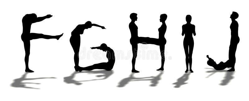 Alphabet formed by man FGHIJ vector illustration