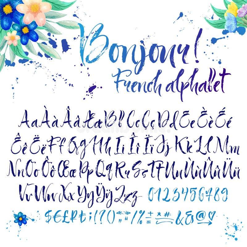 Alphabet français calligraphique avec des décorations illustration stock