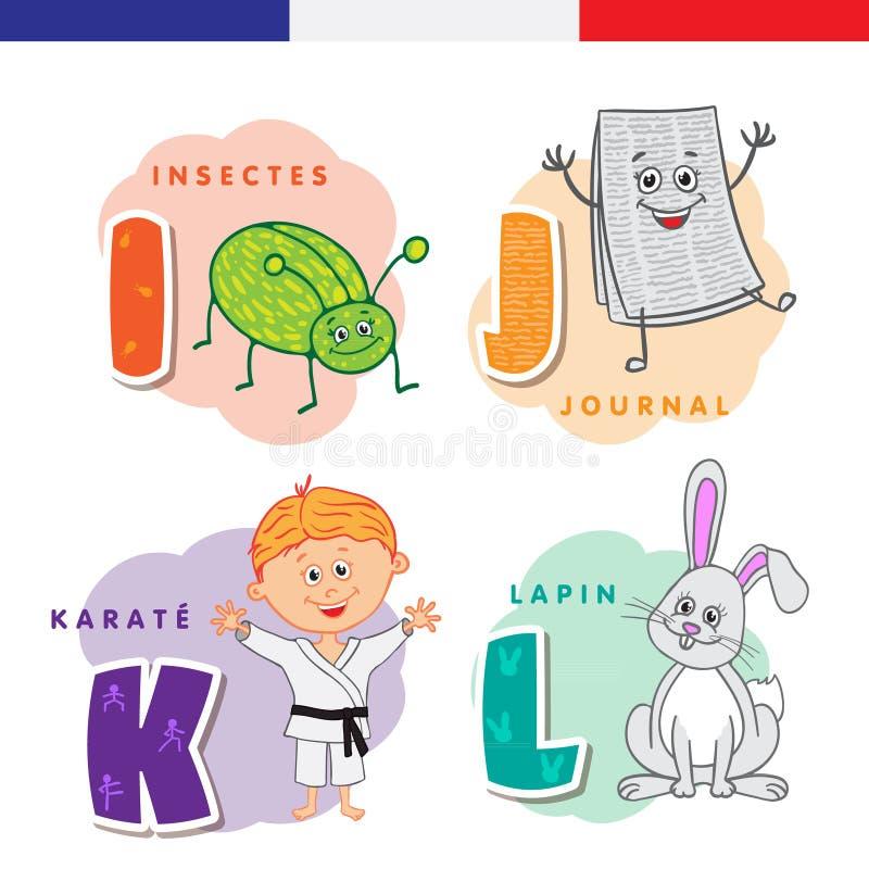 Alphabet français Insecte, journal, karaté, lapin Lettres et caractères de vecteur illustration de vecteur
