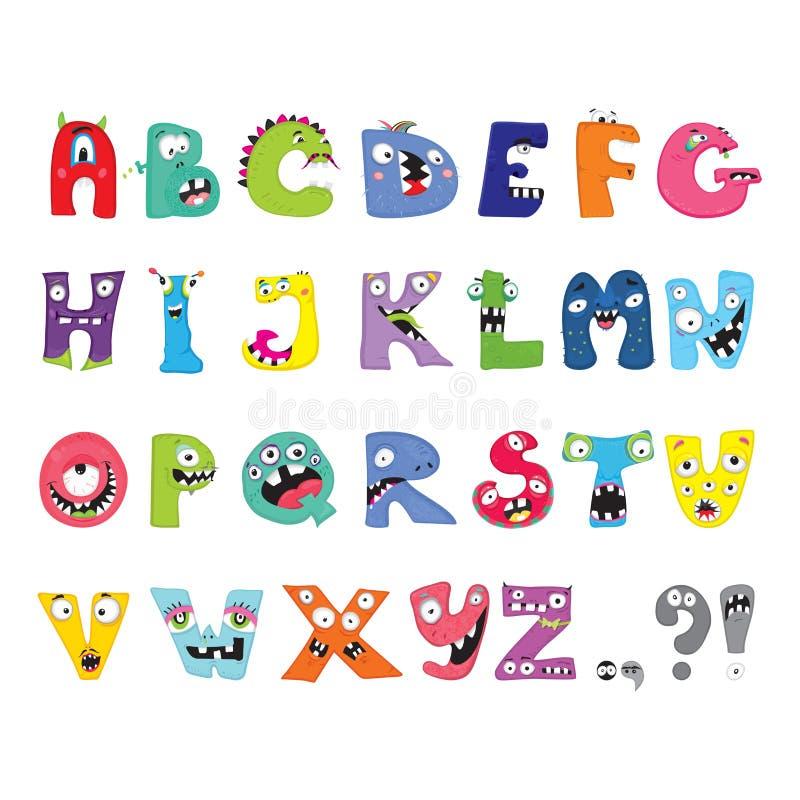 Alphabet. Funny Alphabet, cartoon vector monster letter vector illustration