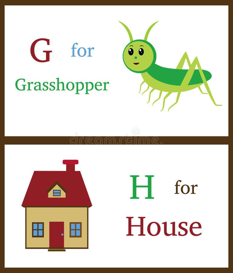 Alphabet G and H royalty free illustration