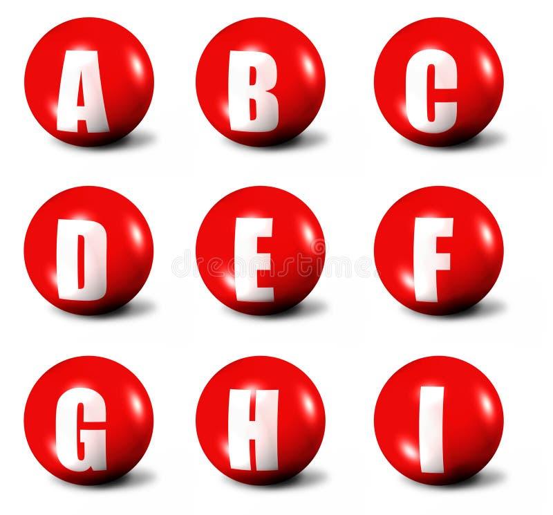 Alphabet gebildet von den roten Kugeln 3D stock abbildung