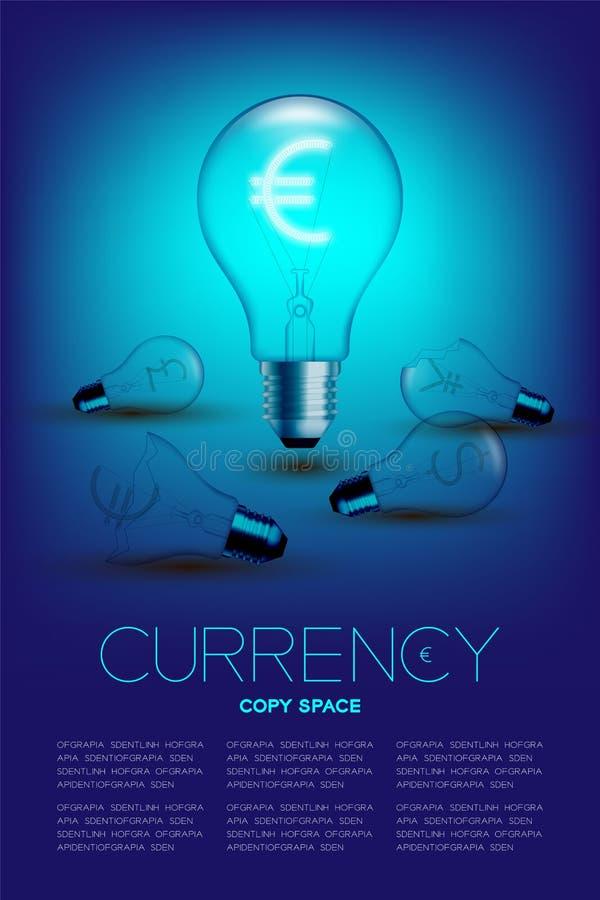 Alphabet-Glühlampebirnenschalter auf europäischem Euro Satz Währungs-EUR mit defekten Dollar, Pfund und Japaner Vereinigter Staat stock abbildung