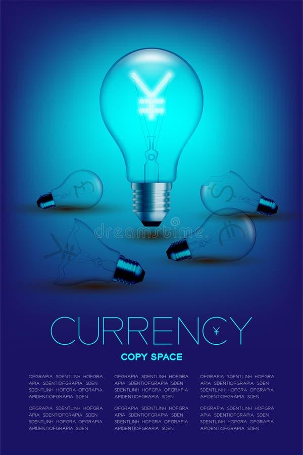 Alphabet-Glühlampebirnenschalter auf japanischen Yen Satz Währung JPY mit defektem Euro, Pfund und Dollar Vereinigter Staaten sym stock abbildung