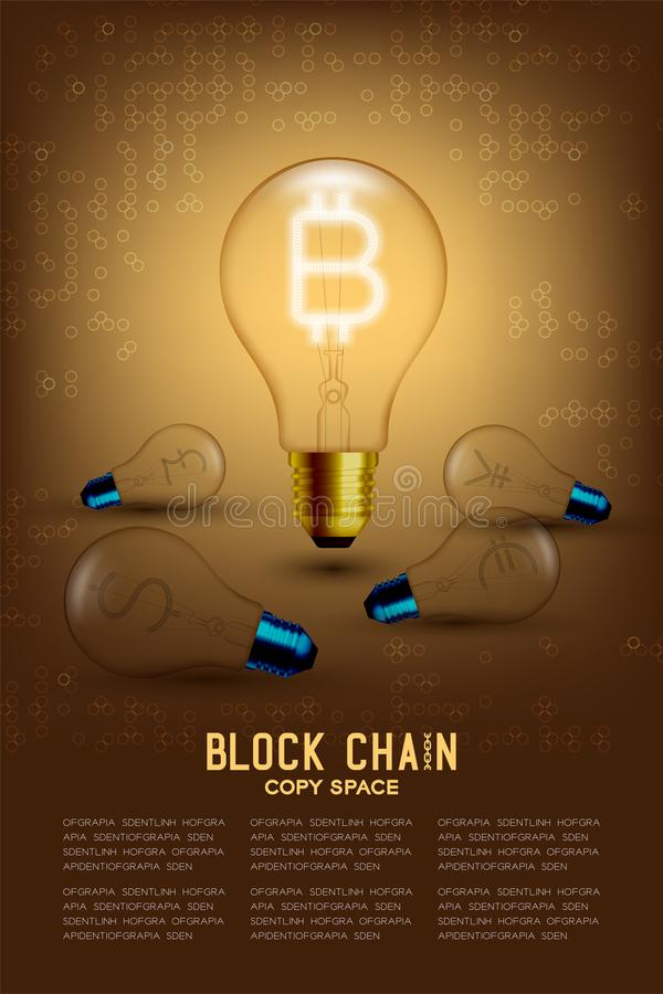 Alphabet-Glühlampebirnenschalter auf Satz Bitcoin Cryptocurrency mit defekten US-Dollars, Euro, Pfund und japanischem Symbol conc stock abbildung
