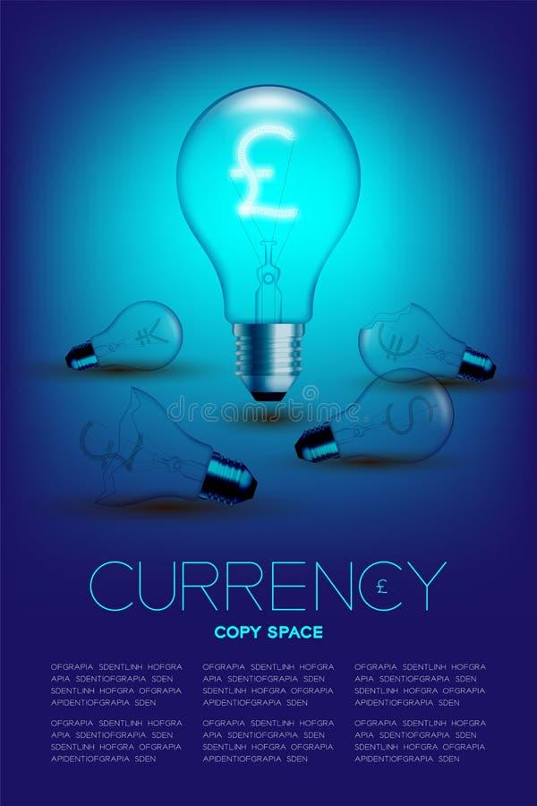 Alphabet-Glühlampebirnenschalter auf Satz Währung GBP-Pfund mit defektem Euro, Japaner und Dollar Vereinigter Staaten lizenzfreie abbildung